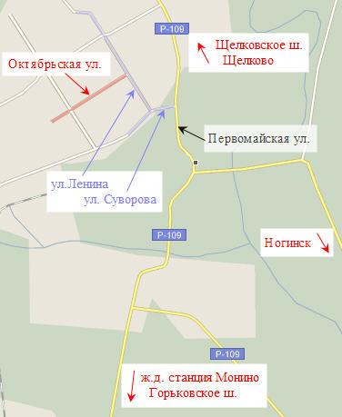 Схема проезда к Регистрационной службе.  Щелковский отдел, дополнительный офис город Лосино-Петровский.